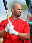 3 March 2011: St. Louis Cardinals' first baseman Albert Pujols awaits his turn in the batting cage prior to a Spring Training game against the Washington Nationals at Roger Dean Stadium in Jupiter, Florida. The Cardinals defeated the Nationals 7-5 in Grapefruit League action. Mandatory Credit: Ed Wolfstein Photo