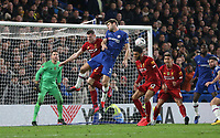 Chelsea's Marcos Alonso challenges with Liverpool's James Milner and Joe Gomez <br /> <br /> Photographer Rob Newell/CameraSport<br /> <br /> The Emirates FA Cup Fifth Round - Chelsea v Liverpool - Tuesday 3rd March 2020 - Stamford Bridge - London<br />  <br /> World Copyright © 2020 CameraSport. All rights reserved. 43 Linden Ave. Countesthorpe. Leicester. England. LE8 5PG - Tel: +44 (0) 116 277 4147 - admin@camerasport.com - www.camerasport.com