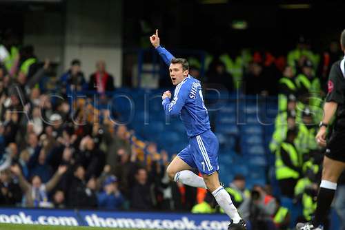28 January 2007: Chelsea striker Andriy Shevchenko celebrates scoring the opening goal of the FA Cup 4th Round game between Chelsea and Nottingham Forest played at Stamford Bridge. Chelsea won the game 3-0,  Photo: Actionplus....070128 football soccer player joy celebration