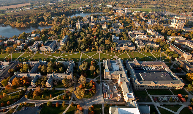 Aerial showing main circle looking north toward God Quad...Photo by Matt Cashore/University of Notre Dame