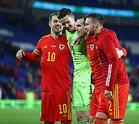 19th November 2019; Cardiff City Stadium, Cardiff, Glamorgan, Wales; European Championships 2020 Qualifiers, Wales versus Hungary; Aaron Ramsey, Wayne Hennessey, Gareth Bale and Chris Gunter of Wales celebrate after successfully qualifying for Euro 2020 - Editorial Use