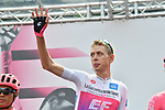 Maglia Bianca Hugh John Carthy (GBR) EF Education First at sign on before the start of Stage 13 of the 2019 Giro d'Italia, running 196km from Pinerolo to Ceresole Reale (Lago Serrù), Italy. 24th May 2019<br /> Picture: Massimo Paolone/LaPresse | Cyclefile<br /> <br /> All photos usage must carry mandatory copyright credit (© Cyclefile | Massimo Paolone/LaPresse)