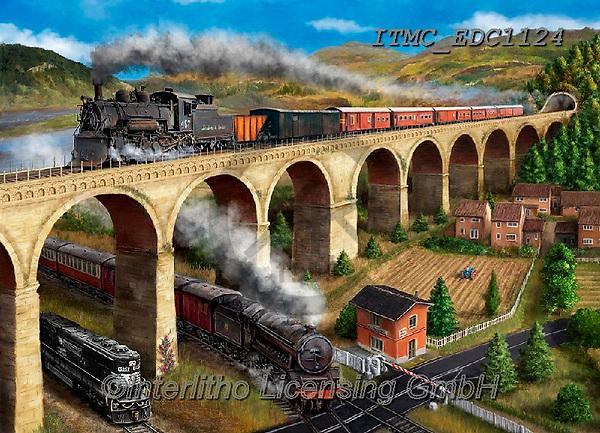 Marcello, LANDSCAPES, LANDSCHAFTEN, PAISAJES, paintings+++++,ITMCEDC1124,#l#, EVERYDAY,steam train,bridge