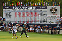 Brooks Koepka (USA) walks past the scoreboard on his way to the green on 18 during 4th round of the 100th PGA Championship at Bellerive Country Club, St. Louis, Missouri. 8/12/2018.<br /> Picture: Golffile | Ken Murray<br /> <br /> All photo usage must carry mandatory copyright credit (&copy; Golffile | Ken Murray)