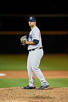 Tampa Tarpons relief pitcher David Sosebee (44) gets ready to deliver a pitch during a game against the Lakeland Flying Tigers on April 5, 2018 at Publix Field at Joker Marchant Stadium in Lakeland, Florida.  Tampa defeated Lakeland 4-2.  (Mike Janes/Four Seam Images)