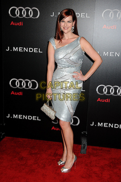 SARA RUE .Audi and J. Mendel Celebrate the 2011 Golden Globe Awards held at Cecconi's, Los Angeles, California, USA, .9th January 201..full length dress hand on hip shoes bag peep toe platform shiny silver  sequined sequin christian louboutin .CAP/ADM/BP.©Byron Purvis/AdMedia/Capital Pictures.