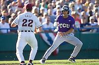 TCU's Rivera, Brance 2308.jpg against Florida State at the College World Series on June 23rd, 2010 at Rosenblatt Stadium in Omaha, Nebraska.  (Photo by Andrew Woolley / Four Seam Images)