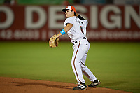 Delmarva Shorebirds second baseman Ryne Ogren (4) throws to first base during a South Atlantic League game against the Greensboro Grasshoppers on August 21, 2019 at Arthur W. Perdue Stadium in Salisbury, Maryland.  Delmarva defeated Greensboro 1-0.  (Mike Janes/Four Seam Images)