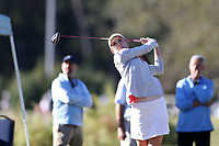 CHAPEL HILL, NC - OCTOBER 11: Emilia Migliaccio of Wake Forest University tees off at UNC Finley Golf Course on October 11, 2019 in Chapel Hill, North Carolina.