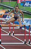 Jessica ENNIS HILL of GBR (Women's 100m Hurdles) during the Sainsburys Anniversary Games Athletics Event at the Olympic Park, London, England on 24 July 2015. Photo by Andy Rowland.