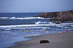 Kayakers playing in the surf at Big River Beach, Mendocino California