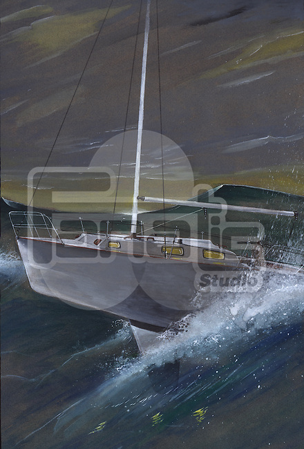 Illustrative image of sailing boat on stormy sea representing conquering adversity