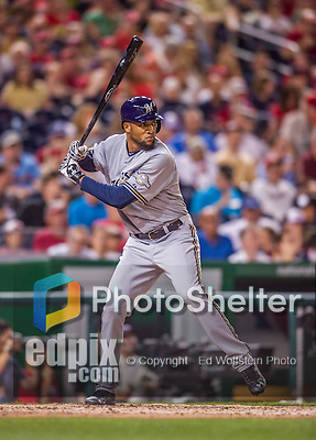 22 August 2015: Milwaukee Brewers outfielder Domingo Santana in action against the Washington Nationals at Nationals Park in Washington, DC. The Nationals defeated the Brewers 6-1 in the second game of their 3-game weekend series. Mandatory Credit: Ed Wolfstein Photo *** RAW (NEF) Image File Available ***