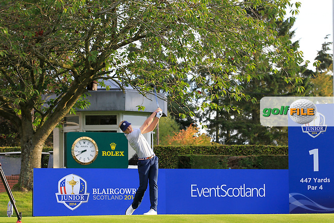 Sam Burns (USA) on the 1st tee during Day 2 Singles for the Junior Ryder Cup 2014 at Blairgowrie Golf Club on Tuesday 23rd September 2014.<br /> Picture:  Thos Caffrey / www.golffile.ie