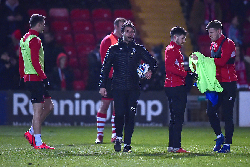 Lincoln City manager Danny Cowley during the pre-match warm-up<br /> <br /> Photographer Andrew Vaughan/CameraSport<br /> <br /> The EFL Sky Bet League Two - Lincoln City v Yeovil Town - Friday 8th March 2019 - Sincil Bank - Lincoln<br /> <br /> World Copyright © 2019 CameraSport. All rights reserved. 43 Linden Ave. Countesthorpe. Leicester. England. LE8 5PG - Tel: +44 (0) 116 277 4147 - admin@camerasport.com - www.camerasport.com