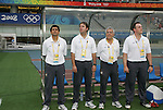 18 August 2008: Brazil head coach Jorge Barcellos (l) and staff.  The women's Olympic soccer team of Brazil defeated the women's Olympic soccer team of Germany 4-1 at Shanghai Stadium in Shanghai, China in a Semifinal match in the Women's Olympic Football competition.