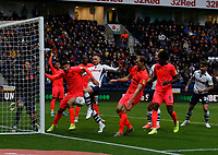 9th November 2019; Deepdale Stadium, Preston, Lancashire, England; Championship Football, Preston North End versus Huddersfield Town; Alan Browne of Preston North End gets first touch at the near post but sees his effort blocked by Christopher Schindler of Hudderfield Town - Strictly Editorial Use Only. No use with unauthorized audio, video, data, fixture lists, club/league logos or 'live' services. Online in-match use limited to 120 images, no video emulation. No use in betting, games or single club/league/player publications