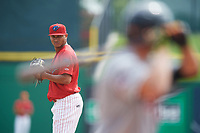 Clearwater Threshers starting pitcher Alberto Tirado (31) gets ready to deliver a pitch during the first game of a doubleheader against the Lakeland Flying Tigers on June 14, 2017 at Spectrum Field in Clearwater, Florida.  Lakeland defeated Clearwater 5-1.  (Mike Janes/Four Seam Images)
