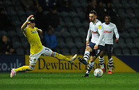 Preston North End's Louis Moult under pressure from Leeds United's Ezgjan&nbsp;Alioski<br /> <br /> Photographer Kevin Barnes/CameraSport<br /> <br /> The EFL Sky Bet Championship - Preston North End v Leeds United -Tuesday 9th April 2019 - Deepdale Stadium - Preston<br /> <br /> World Copyright &copy; 2019 CameraSport. All rights reserved. 43 Linden Ave. Countesthorpe. Leicester. England. LE8 5PG - Tel: +44 (0) 116 277 4147 - admin@camerasport.com - www.camerasport.com