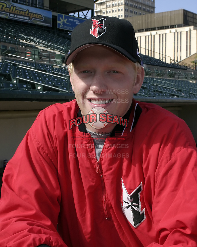 May 16, 2004:  Pitcher Ben Hendrickson of the Indianapolis Indians, Triple-A International League affiliate of the Milwaukee Brewers, during a game at Frontier Field in Rochester, NY.  Photo by:  Mike Janes/Four Seam Images