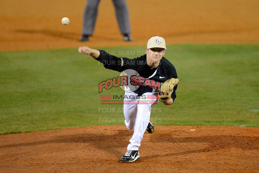 Central Florida Knights pitcher Ben Lively #19 during a game against the Siena Saints at Jay Bergman Field on February 15, 2013 in Orlando, Florida.  UCF defeated Siena 7-1.  (Mike Janes/Four Seam Images)
