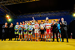 All the winners on the podium at the end of the 2018 Saitama Criterium, Japan. 4th November 2018.<br /> Picture: ASO/Pauline Ballet | Cyclefile<br /> <br /> <br /> All photos usage must carry mandatory copyright credit (&copy; Cyclefile | ASO/Pauline Ballet)
