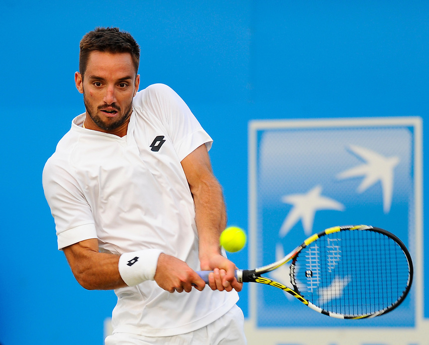 Viktor Troicki (SRB) in action today during his victory over Marin Cilic (CRO) in their Men&rsquo;s Singles Second Round match - Viktor Troicki (SRB) def Marin Cilic (CRO) 6-7, 6-2, 6-3<br /> <br /> Photographer Ashley Western/CameraSport<br /> <br /> Tennis - ATP 500 World Tour - AEGON Championships- Day 4 - Thursday 18th June 2015 - Queen's Club - London <br /> <br /> &copy; CameraSport - 43 Linden Ave. Countesthorpe. Leicester. England. LE8 5PG - Tel: +44 (0) 116 277 4147 - admin@camerasport.com - www.camerasport.com