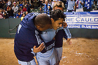 Sporting KC forward Omar Bravo (99) celebrates his second goal of the match. Sporting KC defeated CD Chivas USA 3-2 at Home Depot Center stadium in Carson, California on Saturday March 19, 2011...