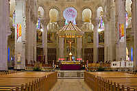 Inside view of the Basilique Sanctuaire Sainte-Anne-de-Beaupre Shrine, east of Quebec City. The Basilica of Sainte-Anne-de-Beaupre has been credited by the Catholic Church with many miracles of curing the sick and disabled. It is an important Catholic sanctuary which receives about a half-million pilgrims each year.