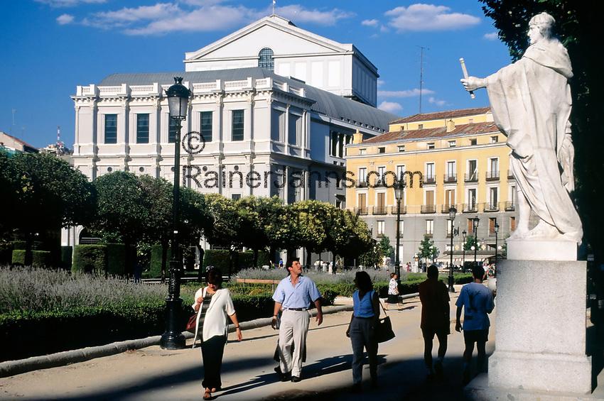 Spanien, Kastilien, Madrid: Plaza de Oriente und das Teatro Real (Oper) | Spain, Castile, Madrid: Plaza de Orienteand the Teatro Real (Opera House)