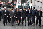 Former President Jose Maria Aznar and hiss wife Ana Botella arrive to the state funeral for former Spanish prime minister Adolfo Suarez at the Almudena Cathedral in Madrid, Spain. March 31, 2014. (ALTERPHOTOS/Victor Blanco)