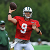 Bryce Petty #9, quarterback, throws a pass during New York Jets Training Camp at the Atlantic Health Jets Training Center in Florham Park, NJ on Thursday, Aug. 3, 2017.