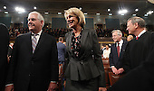 Secretary of State Rex Tillerson (L) and Secretary of Education Betsy DeVos (R) arrive for US President Donald J. Trump's first address to a joint session of Congress from the floor of the House of Representatives in Washington, DC, USA, 28 February 2017.  Traditionally the first address to a joint session of Congress by a newly-elected president is not referred to as a State of the Union.<br /> Credit: Jim LoScalzo / Pool via CNP
