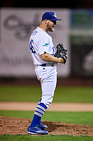 Justin Hoyt (46) of the Ogden Raptors celebrates as he delivers the final out against the Great Falls Voyagers at Lindquist Field on September 14, 2017 in Ogden, Utah. The Raptors defeated the Voyagers 7-4 in Game One of the Pioneer League Championship. (Stephen Smith/Four Seam Images)