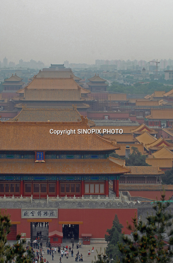 A view of Beijing overlooking the Forbidden City with dusty sky in Beijing, China. Air quality has become a key concern ahead of the August Beijing Olympic Games, with city officials vowing to limit the number of cars on city streets and halt construction projects during the Games..09 May 2008