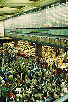Overview of stock trading floor activity in Chicago's Board of Trade. Finance. Stock market. Chicago Illinois, Board of Trade.
