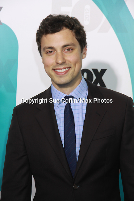 "Bones' John Francis Daley ""Dr. Lance Sweets"" at The Fox 2012 Programming Presentation on May 14, 2012 at Wollman Rink, Central Park, New York City, New York. (Photo by Sue Coflin/Max Photos) 917-647-8403"