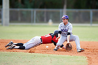 New York University Violets shortstop Jonathan Iaione (2) fields a throw as Jeff Tucker (19) dives back to second base during a game against the Edgewood Eagles on March 14, 2017 at Terry Park in Fort Myers, Florida.  NYU defeated Edgewood 12-7.  (Mike Janes/Four Seam Images)