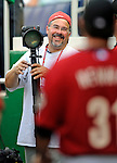 12 July 2008: UPI photographer Mark Goldman smiles in the inside photo well prior to a game against the Houston Astros at Nationals Park in Washington, DC. The Astros defeated the Nationals 6-4 in the second game of their 3-game series...Mandatory Photo Credit: Ed Wolfstein Photo
