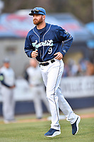 Asheville Tourists pitching coach Ryan Kibler (9) during a game against the Columbia Fireflies at McCormick Field on April 12, 2018 in Asheville, North Carolina. The Fireflies defeated the Tourists 7-5. (Tony Farlow/Four Seam Images)