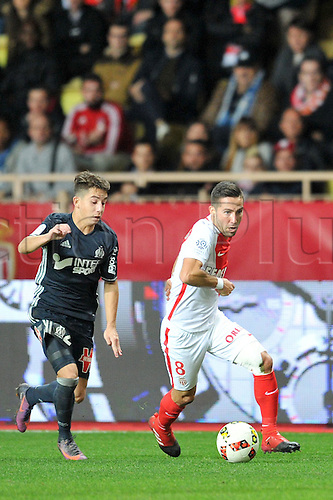 26.11.2016. Monaco, France. French League 1 football. Monaco versus Marseille.  JOAO MOUTINHO (asm) turns away from MAXIME LOPEZ (om)