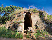 Etruscan circular Tumulus Tomb known as the Tomba Capitelli, 6th century BC, Necropoli della Banditaccia, Cerveteri, Italy. A UNESCO World Heritage Site