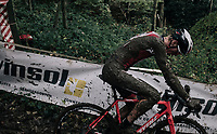crashing on the slippery descent<br /> <br /> U23 Men's race<br /> Superprestige Gavere / Belgium 2017