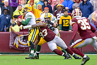 Landover, MD - September 23, 2018: Washington Redskins defensive end Jonathan Allen (93) sacks Green Bay Packers quarterback Aaron Rodgers (12) on 4th down and clinches the game between Green Bay and the Washington Redskins at FedEx Field in Landover, MD. The Redskins get the win 31-17 over the visiting Packers. (Photo by Phillip Peters/Media Images International)