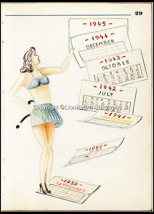 BNPS.co.uk (01202 558833)<br /> Pic:   LionHeartAutographs/BNPS<br /> <br /> A coloured pencil drawing of a pin-up girl tearing pages off a calendar showing the flight of time from 1939 to 1945.<br /> <br /> A remarkable diary kept by a POW in the Great Escape camp which includes a tribute to the 50 men executed in its reprisals has come to light.<br /> <br /> British RAF officer Joseph Gueuffen, of 609 Squadron, was shot down during a bombing raid over Germany and held captive at Stalag Luft III from late 1943 until the end of the war.<br /> <br /> The Belgian born pilot was kept in Block 109, a barrack which played an integral part in the mass escape of prisoners on March 24, 1944.<br /> <br /> The diary boasts a list of the officers executed by the Nazis following their recapture and a drawing of the permanent memorial for them by Belgian RAF pilot Bobby Laumans.