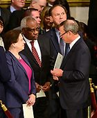 Chief Justice of the United States John G. Roberts, Jr., right, converses with, from left, Associate Justice of the Supreme Court Elena Kagan, Associate Justice of the Supreme Court Clarence Thomas, and Associate Justice of the Supreme Court Samuel A. Alito, Jr. prior to the ceremony honoring former United States President George H.W. Bush, who will Lie in State in the Rotunda of the US Capitol on Monday, December 3, 2018.<br /> Credit: Ron Sachs / CNP<br /> (RESTRICTION: NO New York or New Jersey Newspapers or newspapers within a 75 mile radius of New York City)