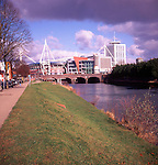 Millennium stadium, from bank of River Taff, Grangetown, Cardiff, Wales
