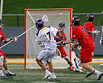 Jakob Patterson (#17) watches his shot fly toward the Richmond goal as UAlbany Men's Lacrosse defeats Richmond 18-9 on May 12 at Casey Stadium in the NCAA tournament first round.