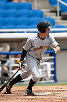 Brock Holt (5) of the Bradenton Marauders during a game vs. the Dunedin Blue Jays May 16 2010 at Dunedin Stadium in Dunedin, Florida. Bradenton won the game against Dunedin by the score of 3-2.  Photo By Scott Jontes/Four Seam Images