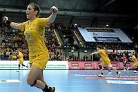 Handball Frauen / Damen  / women 1. Bundesliga - DHB - HC Leipzig : Frankfurter HC - im Bild: Ania Rösler jubelt über ihren wichtigen Treffer. Porträt. Foto: Norman Rembarz .